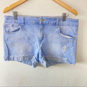 Celebrity Pink Light Wash Distressed Denim Shorts